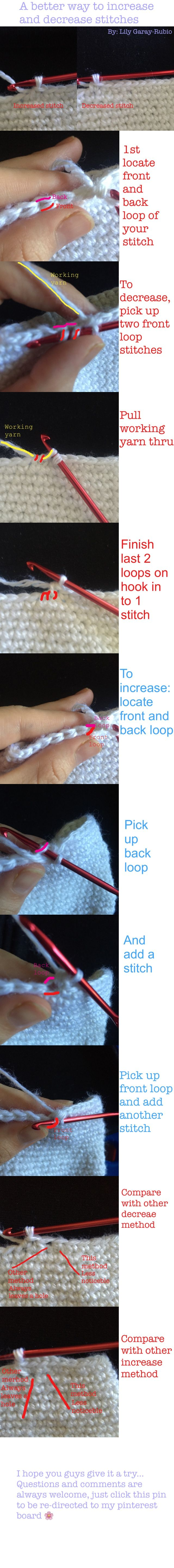 How to increase and decrease crochet stitches for beginners ... Easy step-by-step photo tutorial and comparison.