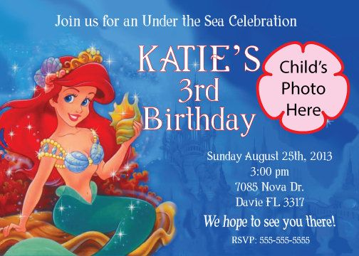 Little Mermaid Birthday Invitation  La by DecoArtsandCrafts, $10.00