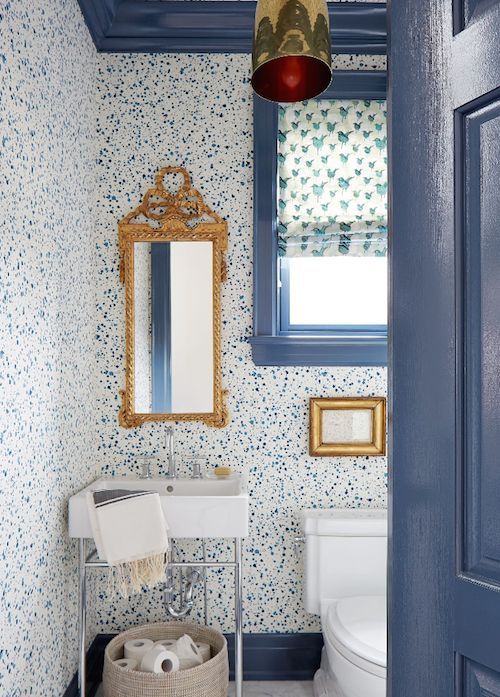Great Blue Powder Room With Spatter Painted Wallpaper Walls And Blue Trim