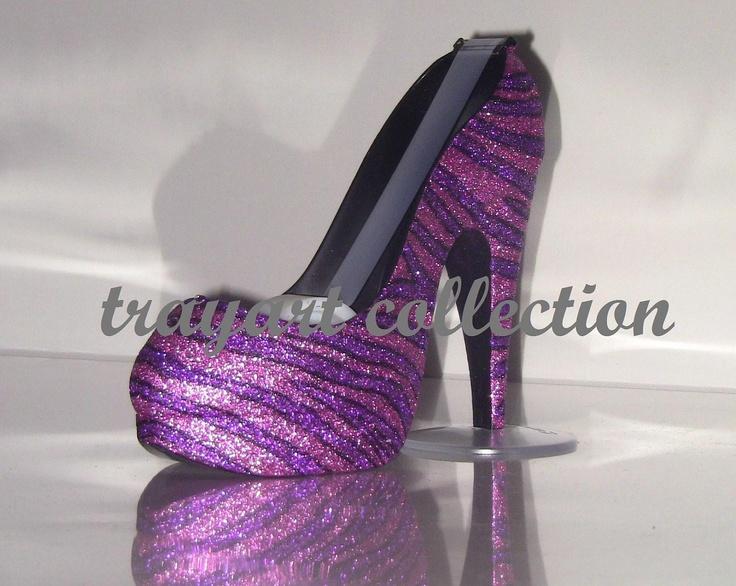 Pink & Purple Zebra High Heel Shoe TAPE DISPENSER Stiletto Platform - office supplies - trayart collection. $29.50, via Etsy.