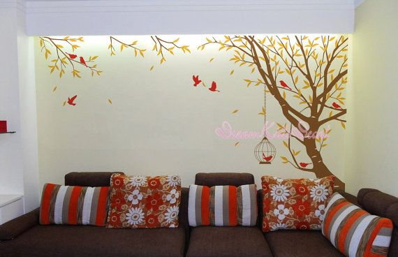 Branch muur sticker met vliegende vogels vinyl baby muur