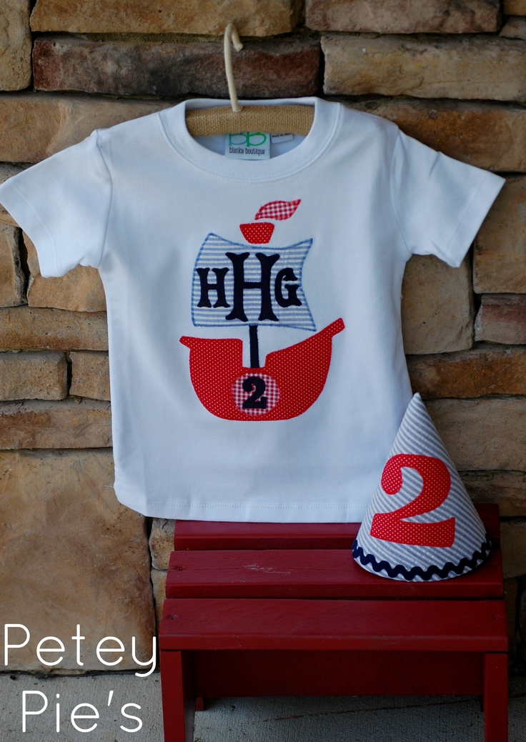 Handmade applique pirate ship with monogram and coordinating handmade bday hat