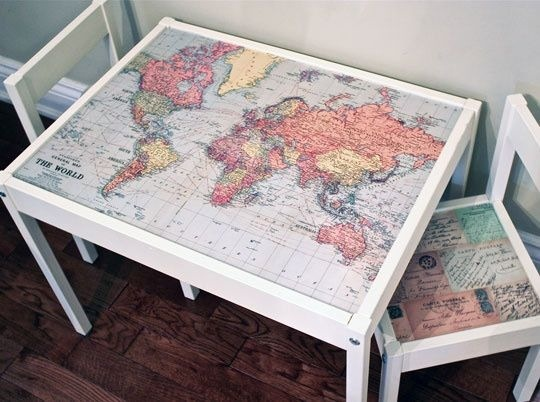 DIY for talking about travel at home! Ikea table and chairs + map = love