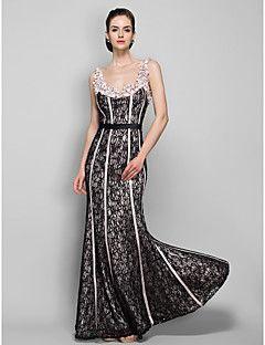 Formeller Abend / Militär Ball Kleid - Vintage inspiriert Eng anliegend Riemchen Boden-Länge Spitze mit Perlstickerei / Spitze