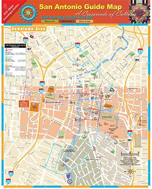 Map of San Antonio Attractions | Detailed, real-to-scale street maps of San Antonio's Riverwalk ...