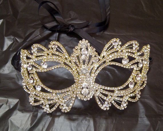 Rhinestone Crystal Masquerade Mask with Gold by BingCheri on Etsy