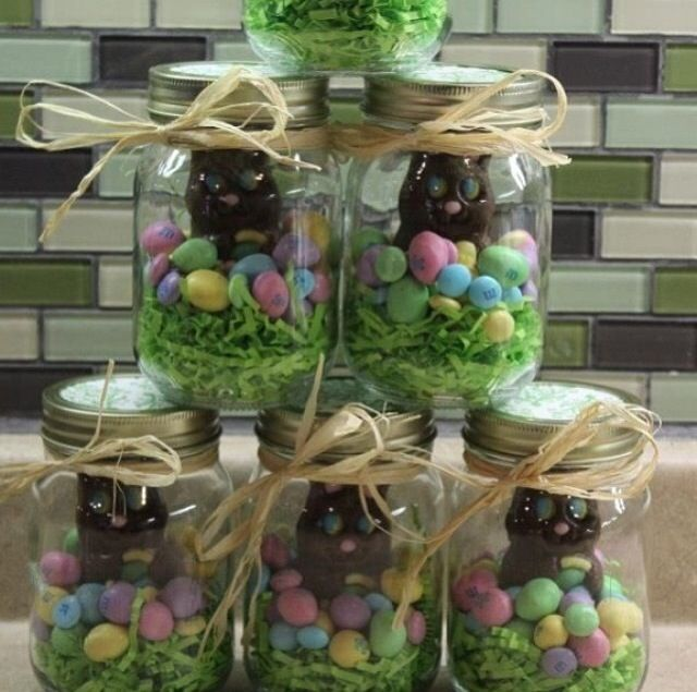 20 best easter gifts for adults images on pinterest easter gift these will be my easter gifts mason jar easter chocolate gift filled with eggs chicks a chocolate bunny can put colored krispie treats in bottom or use negle Gallery
