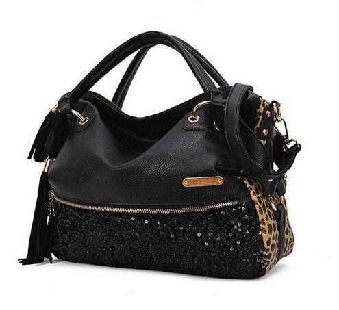 Ladies Tote Shoulder Bag Designer Leopard Handbags High Quality Womens Pu Patchwork Handbags sac a main femme de marque 042A