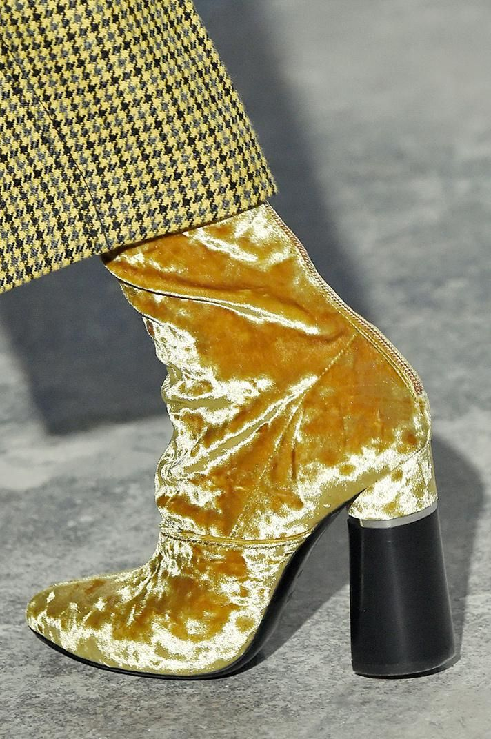 3.1 Phillip Lim yellow velvet ankle boots   The Best Shoes From NYFW Fall 2016 @stylecaster