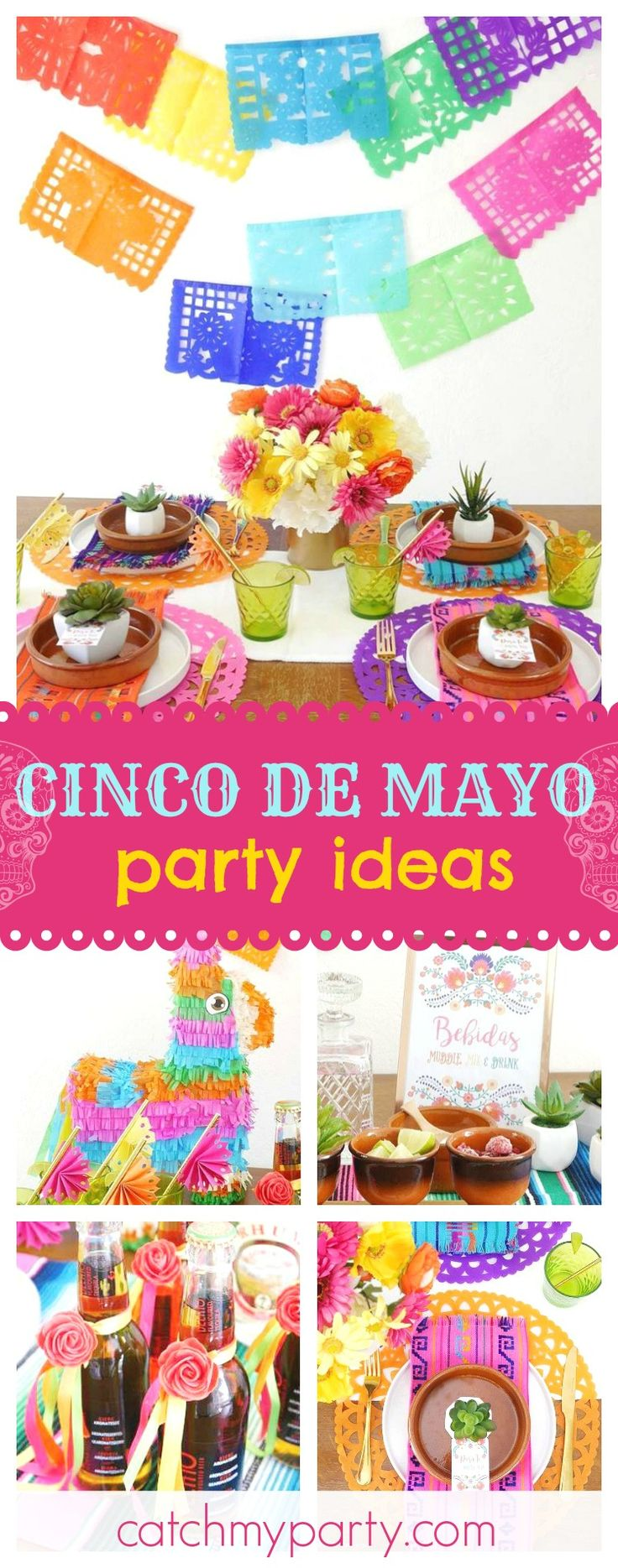 Office ideas for cinco de mayo - Check Out This Vibrant Colorful Cinco De Mayo Fiesta The Table Settings Are Gorgeous