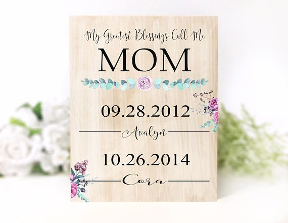 Personalized Mother S Day Gift From Kids Mom Wall Art Wood Etsy