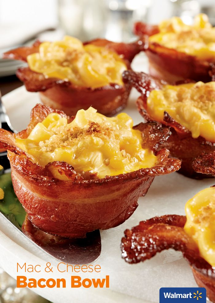 Mac and Cheese Bacon Bowl | Walmart - Make these for your next holiday party, bacon bowls filled with Mac & Cheese!  Combine Wright Brand Hickory-Smoked Bacon and Stouffer's Party Size Macaroni and Cheese and toss on some shredded cheddar cheese and breadcrumbs!