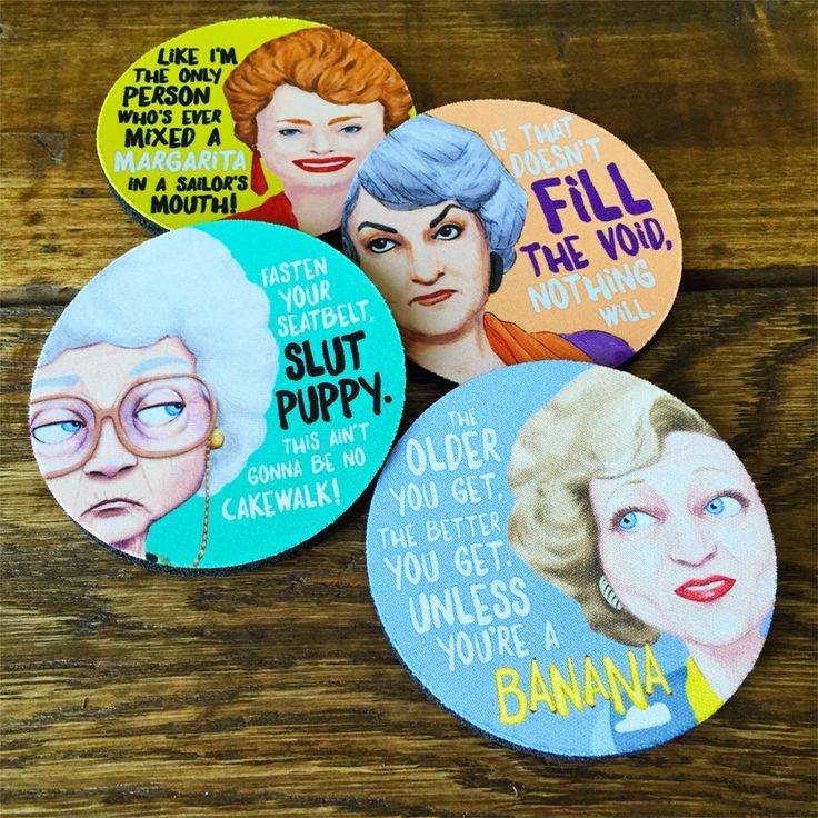 The Golden Girls Coasters - PRE-ORDER - ships from December 12th by PeachyApricot on Etsy https://www.etsy.com/listing/244460974/the-golden-girls-coasters-pre-order