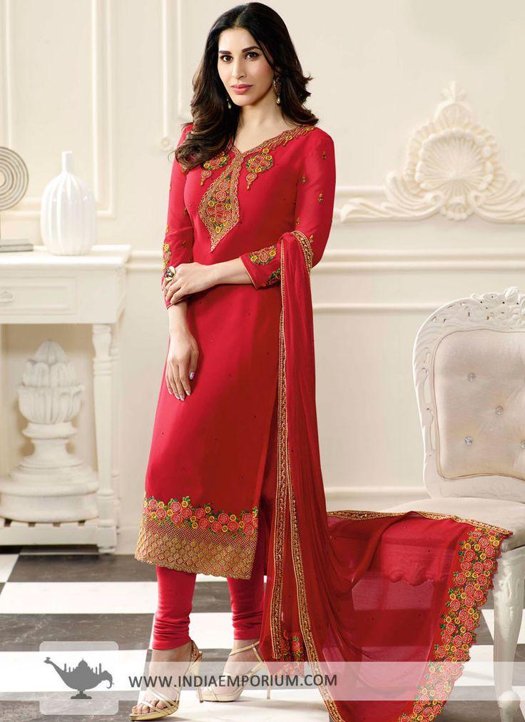 Vivacious Red Georgette Sophie Choudry Churidar Suit