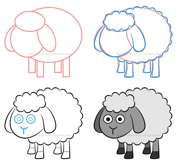How to draw a sheep and try various colors on this adorable cartoon animal! :)