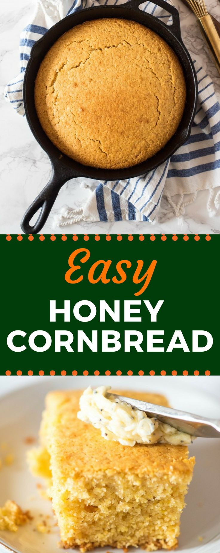 Forget the Jiffy! This Easy Honey Cornbread recipe is baked in a cast iron skillet, yielding a moist inside with crispy edges and just a touch of sweetness.Pair it with my delicious honey poppyseed butter. #honeycornbread #cornbreadrecipe #castironskillet #gogogogourmet