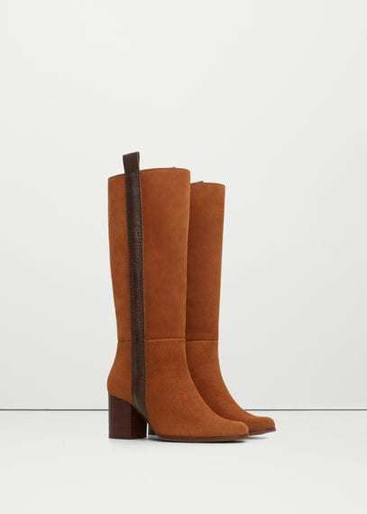 Mango Outlet Leather high-leg boots