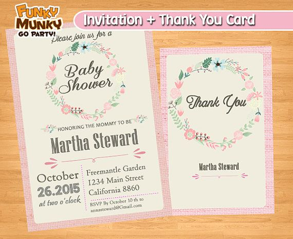 Baby Shower Invitation  Girl Baby Shower by funkymunkygoparty