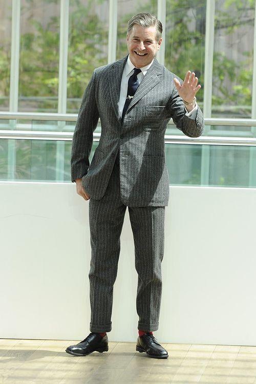 Jeremy Hackett - flannel grey striped suit.