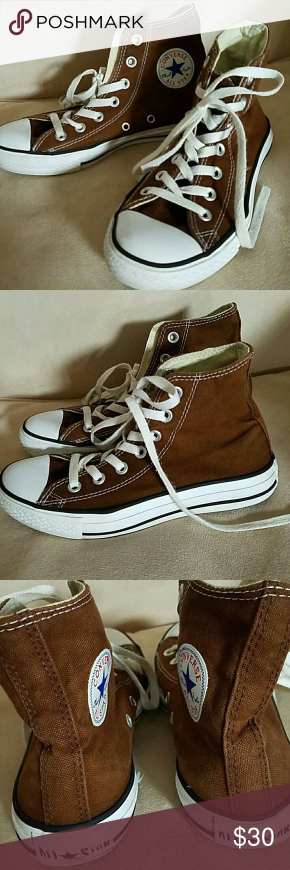 Brown Converse High Tops A fabulous pair of sneakers in excellent used condition.  (You will definitely need new laces, however   these are not in good condition ) Feel free to ask me any questions or make an offer! Converse Shoes Sneakers