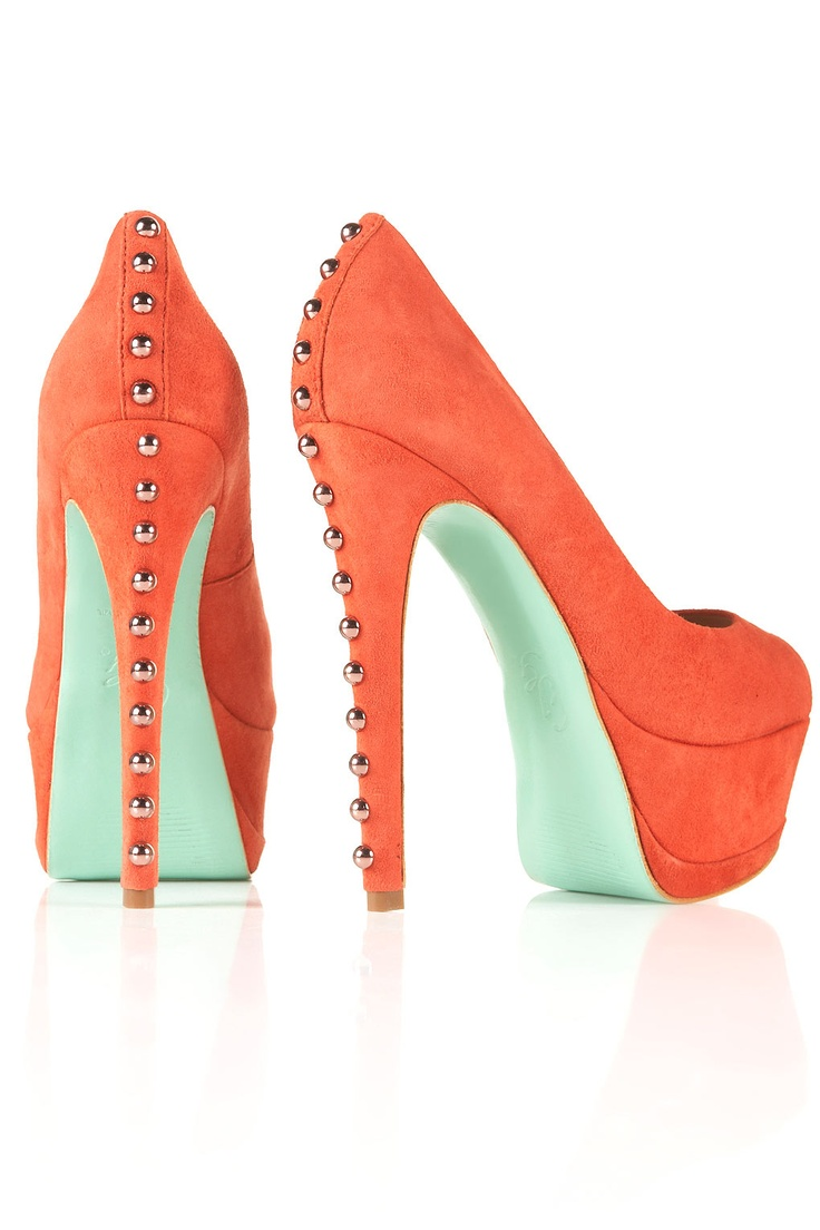 The 90 best images about Best heels ever on Pinterest | Pump, To ...Orange and Mint with studs