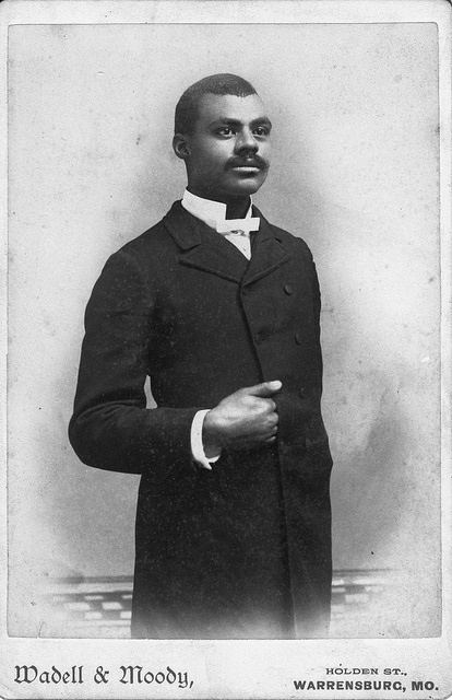 Portrait of an un-named, impeccably dressed young black man, Warrensburg, Missouri circa 1880s