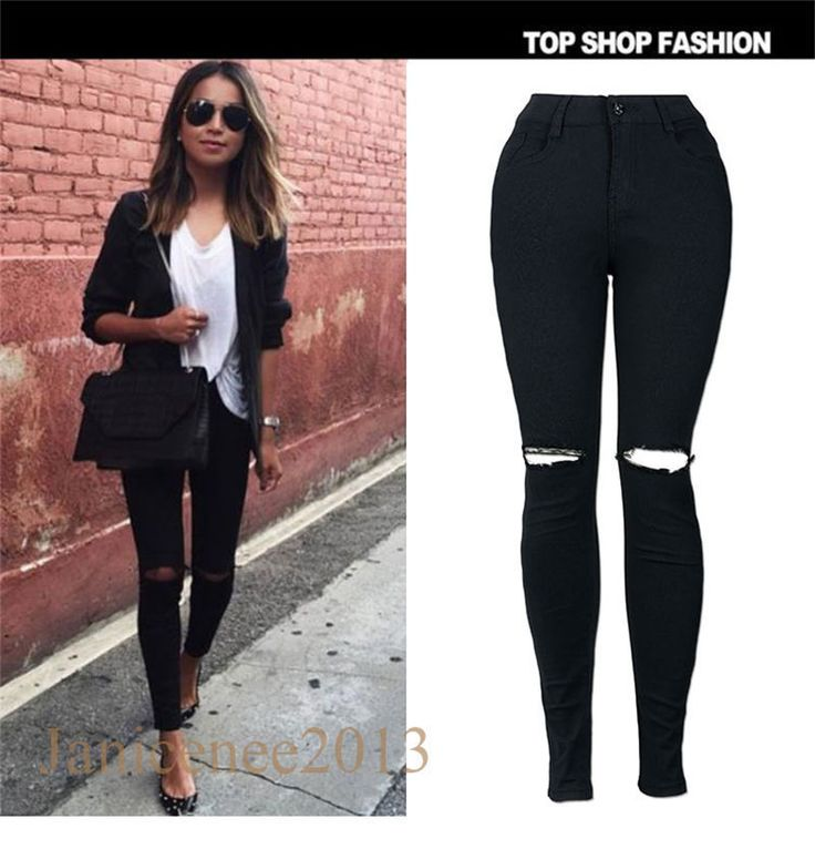 Ladies Skinny Fit Black Stretchy Jeans Womens Jeggings Trousers Long Pants