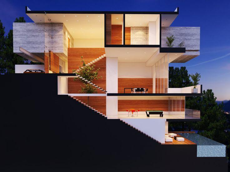 Seccion creato arquitectos fachadas arquitectura moderna - Arquitectos casas modernas ...