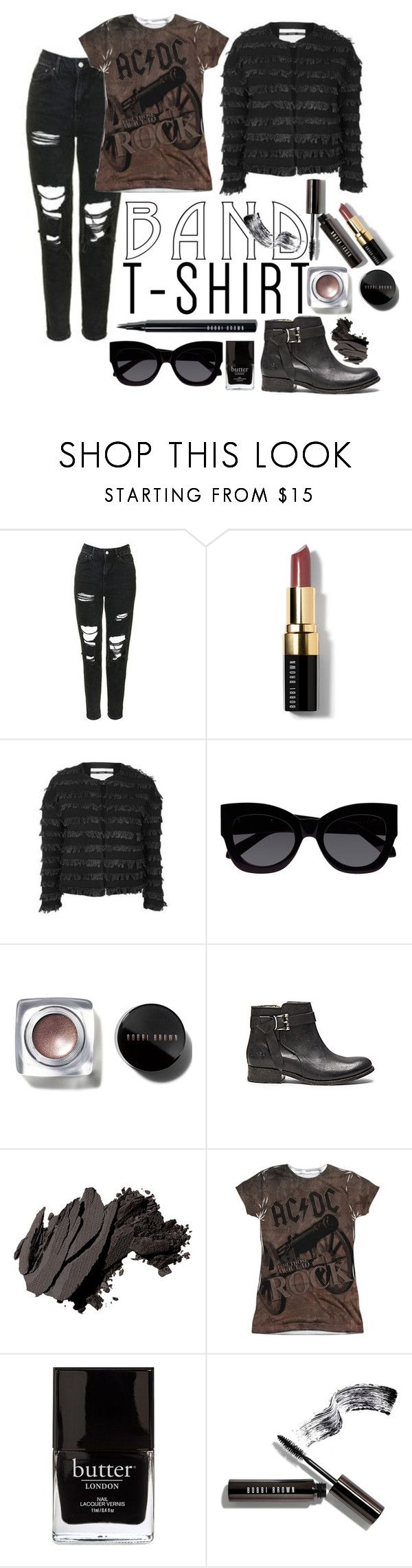 """2016 band shirt"" by vaughnroyal ❤ liked on Polyvore featuring Bobbi Brown Cosmetics, Topshop, Karen Walker and Jack Black"