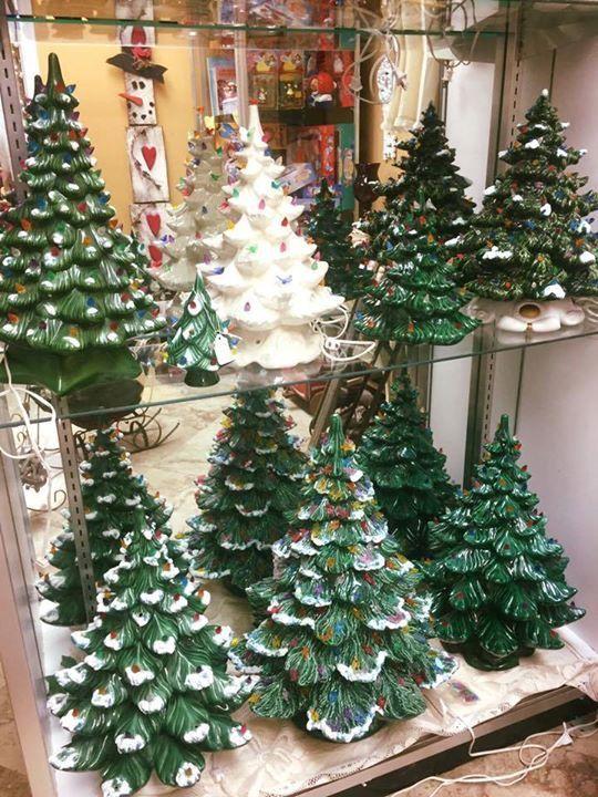 Vintage lighted Christmas trees