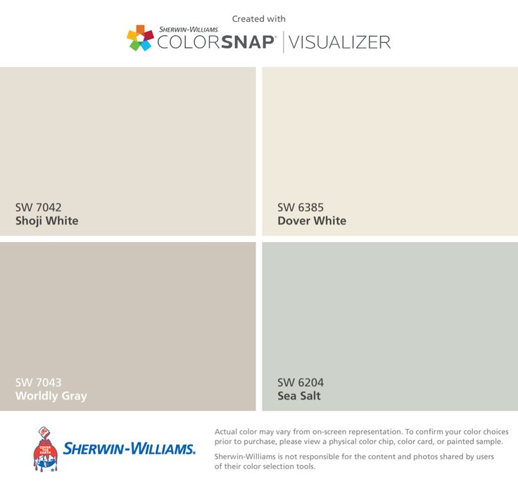 Kitchen, living room, & dining room colors. I found these colors with ColorSnap® Visualizer for iPhone by Sherwin-Williams: Shoji White (SW 7042), Worldly Gray (SW 7043), Dover White (SW 6385), Sea Salt (SW 6204).