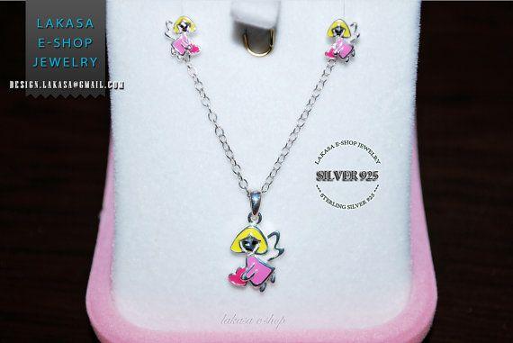 Girls set jewelry princess fairy tale angel heart enamel necklace earrings sterling silver jewelry gift best ideas birthday christmas