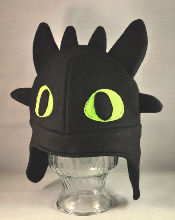Toothless Dragon Black Fleece Hat - Adult - Child - Toddler, Inspiration zum Nähen oder Häkeln