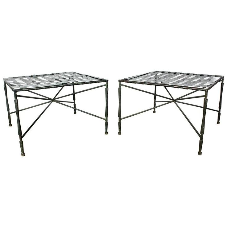 Pair of Architectural Iron Benches or Ottomans by John Salterini, 1950s | From a unique collection of antique and modern ottomans and poufs at https://www.1stdibs.com/furniture/seating/ottomans-poufs/