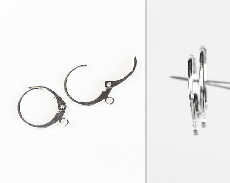 2501_925 silver leverback ear wires 15.2 х 12.1 mm, Leverback earring settings, Sterling silver earring findings, French earwires _1 pair. by PurrrMurrr on Etsy