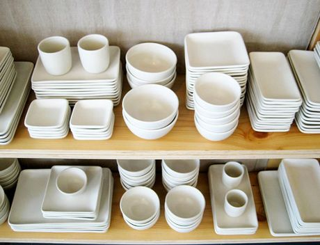 I prefer white dinnerware -- clean, simple, showcases the food.