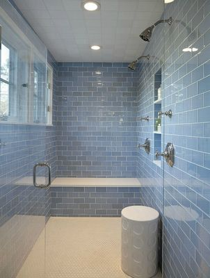 Sky Blue glass subway tile                                                                                                                     Cool subway glass shower. Found at http://www.subwaytileoutlet.com/