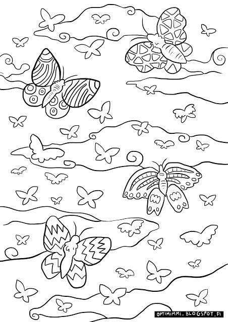 OPTIMIMMI | A free coloring page of butterflies / Ilmainen värityskuva perhosista