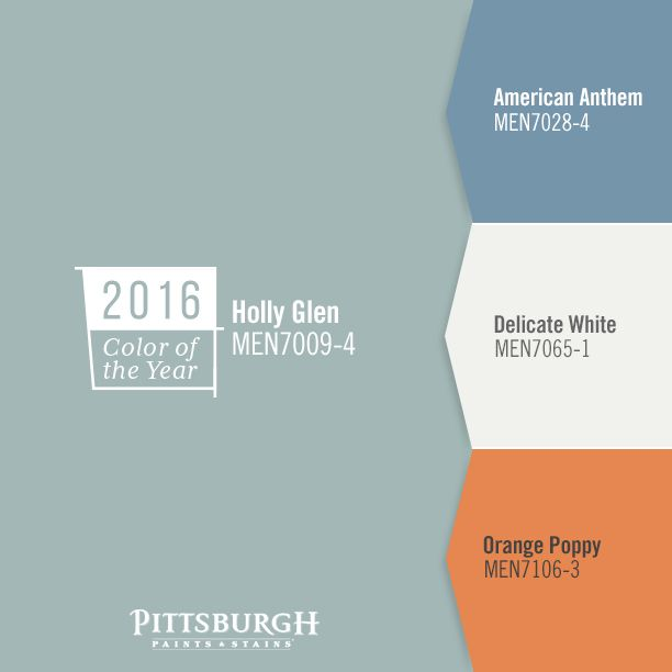 2016 Paint Color Trends : For the energetic, lively and bold color lover, this paint color palette reflects a feeling of youthfulness and originality through the colors Holly Glen, Delicate White (MEN7065-1), American Anthem (MEN7028-4) and Orange Poppy (MEN7106-3). The vivid orange hue works harmoniously with soft blues and white to create a modern and bright space.