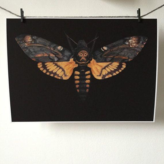 Death's head hawk moth A4 print by thefloralfoxart on Etsy
