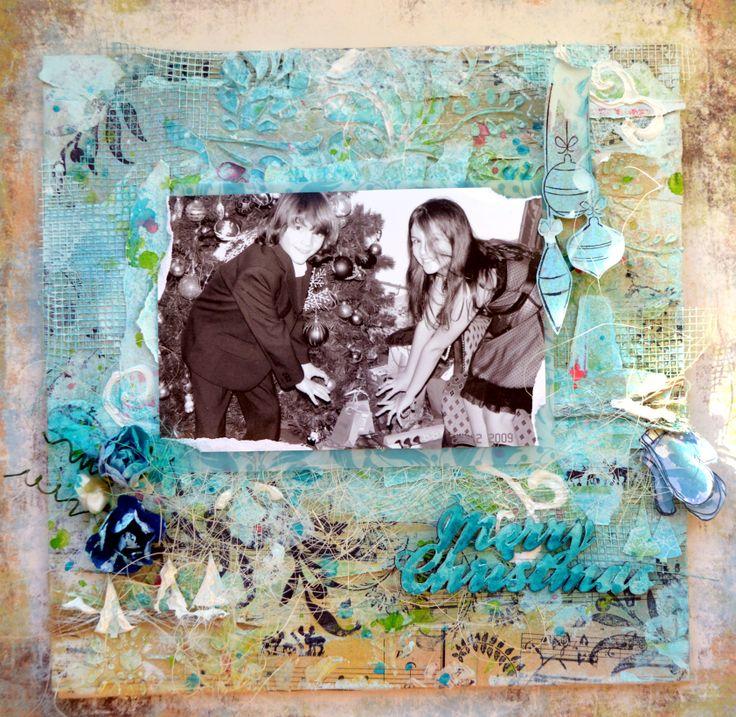Tutorial about Winter canvas http://bellaideascrapology.blogspot.ca/2013/12/mixed-media-canvas-by-agnieszka_4.html