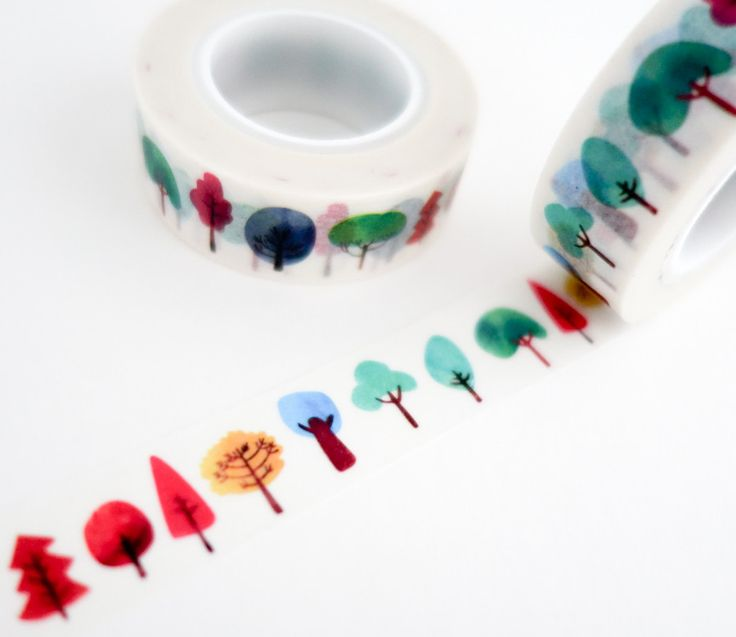 Watercolor Trees Washi Tape