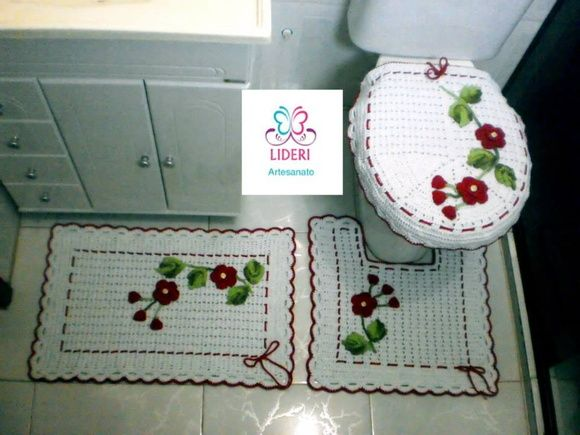Jogos De Banheiro Vermelho E Branco : Melhores imagens sobre trabalhos de croche em barbante