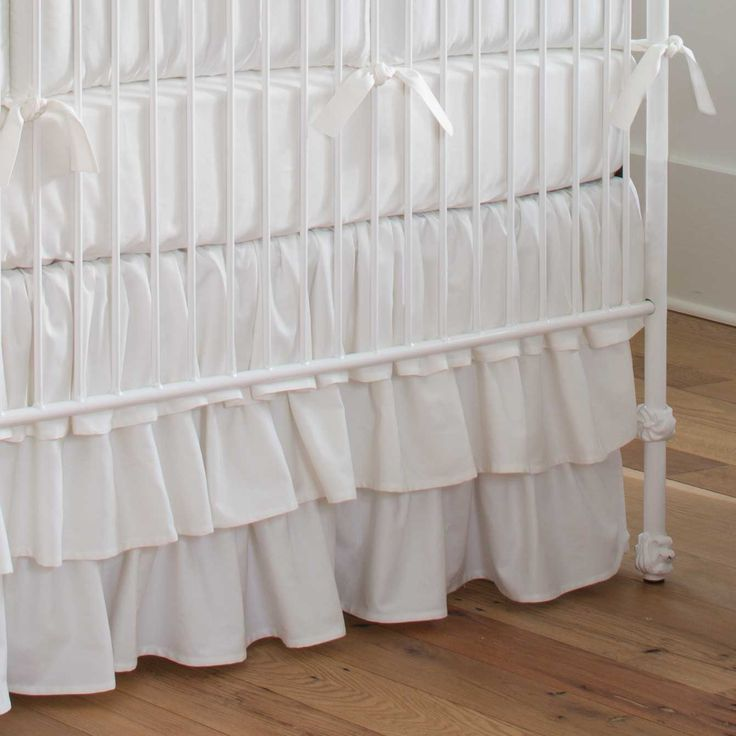 solid white crib skirt 3tiered