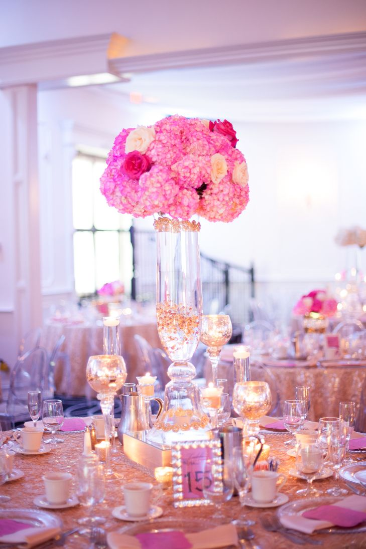 Glam Pink Hydrangea Centerpieces | Lily V Events https://www.theknot.com/marketplace/lily-v-events-media-pa-823403 | Jessica Maida Photography https://www.theknot.com/marketplace/jessica-maida-photography-richmond-va-627988