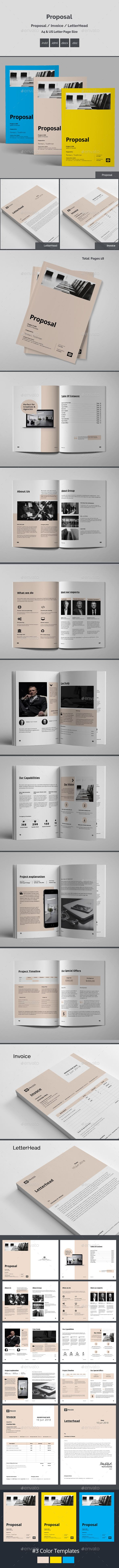 Proposal Brochure Template InDesign INDD - 18 Pages, A4 & Letter Page Size