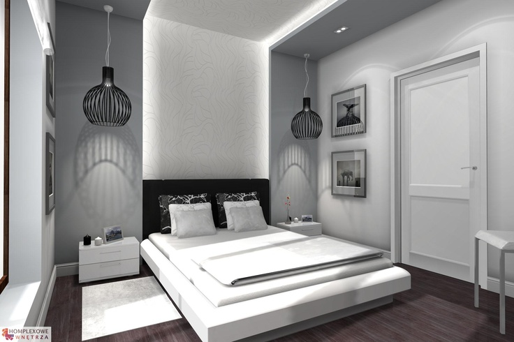 Aranżacja sypialni w kolorach biały, czarny, szary - projekt wnętrza o id 6636133 w Homplex.pl, Zestaw wyposażenia za 7392 zł ($2310)