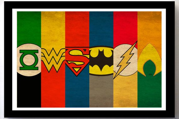 Justice League Minimalist Poster - Superman, Batman, Wonder Woman, Flash, Aquaman, Green Lantern. $18.00, via Etsy.