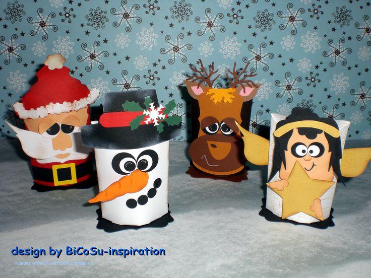 Weihnachten Geschenkverpackungen, Weihnachtsmann, Engel, Schneemann, Rentier - Xmas Boxen - Partyboxen - Pillow Box from Bigz Die stampin up - Punch Art - Snowman, Santa Claus, Reindeer, Angel