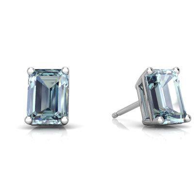 Aquamarine Emerald-Cut Stud 14K White Gold earrings E1856 - front view